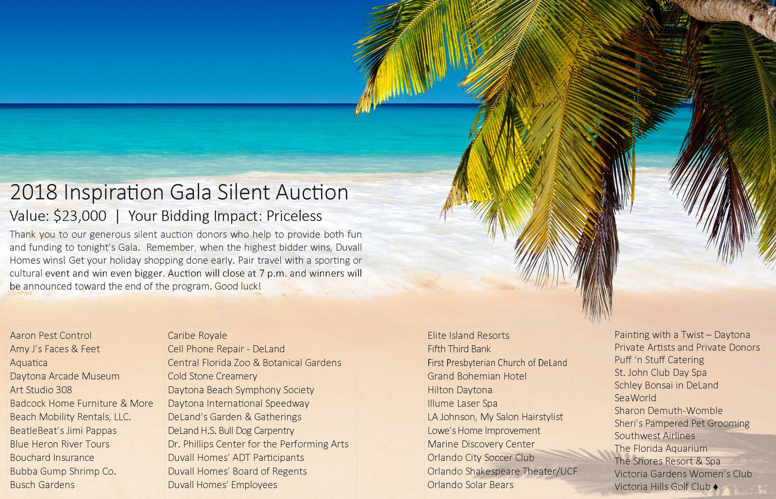 Thank you 2018 Inspiration Gala Silent Auction Donors