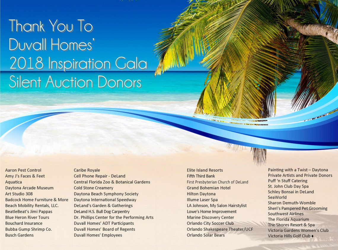 Duvall's Silent Auction Donors